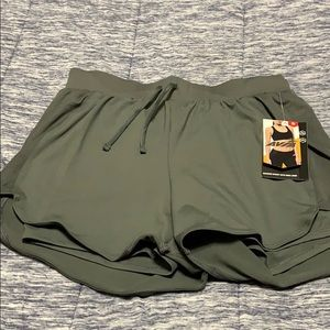 Avia running  shorts with bike liner olive green